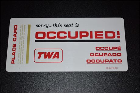 1976 Trans World Airlines (TWA) Seat Holder Place Card