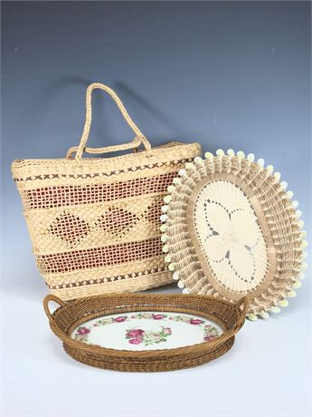 Woven Purse and Wicker Oval Baskets