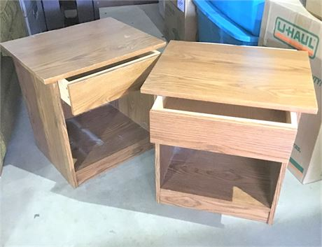 Matching Pair Particle Board & Laminate Night Stands