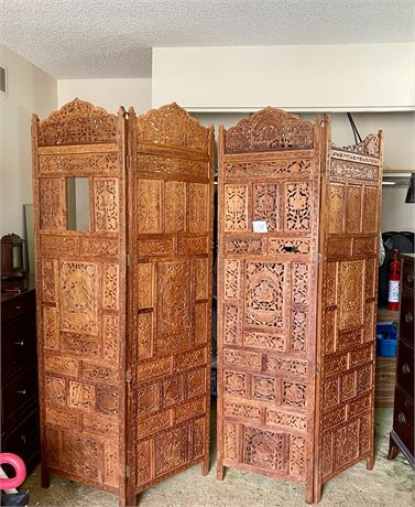 Ornately Carved Wood Privacy Screen/Room Divider (Heavy Duty)