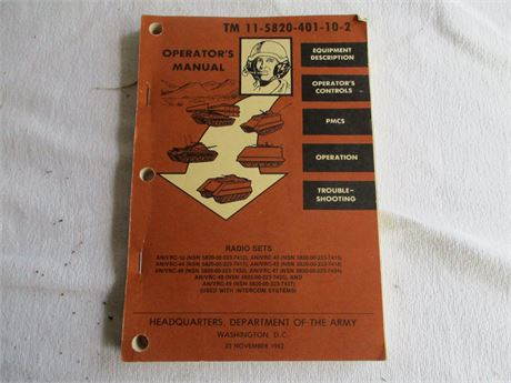 1952 US Dept of ARMY Operation Manual TM 11 5820 Radio
