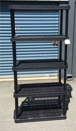Rugged Black Plastic Shelving Unit