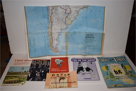 1972 Nat'l Geographic map of S. America and other vintage pieces