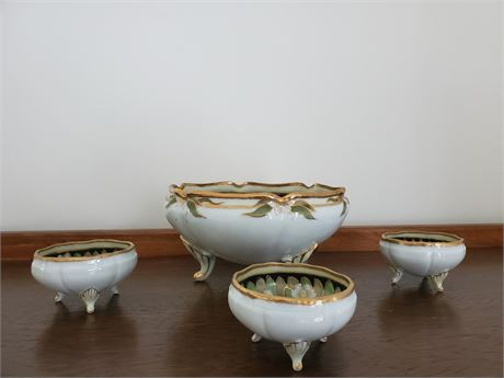 Beautiful Antique Nippon Nut Set Hand Painted