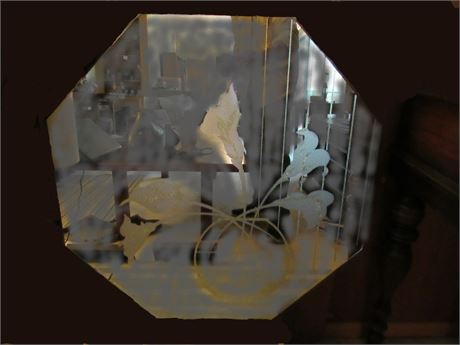 Retro Octagonal Wall Mirror, Etched Flowers