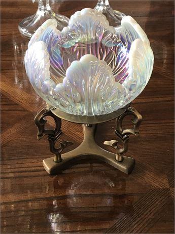 Iridescent Glass Dish on Stand