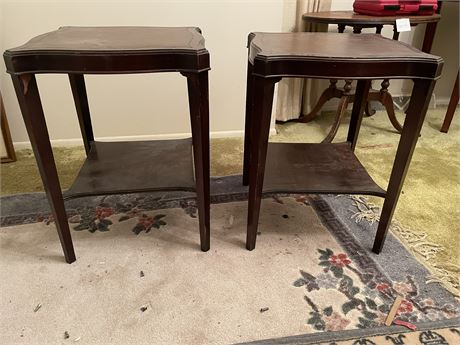 1940's Leather Top Serving Tables - Matching Pair