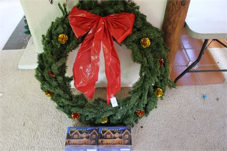 """38"""" Christmas Wreath and 2 Boxes of Icicles Lights"""