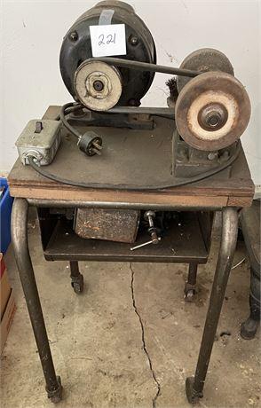Sunlight Motors Electrical Mfg. Co. Belt Sander On a Cart