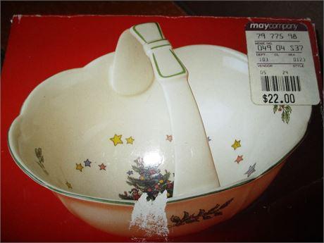 Genuine May & Co NIKKO Christmas Time China Candy Dish  Basket w/ Handle