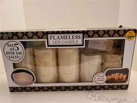 Set of 5 LED Flameless Candles New