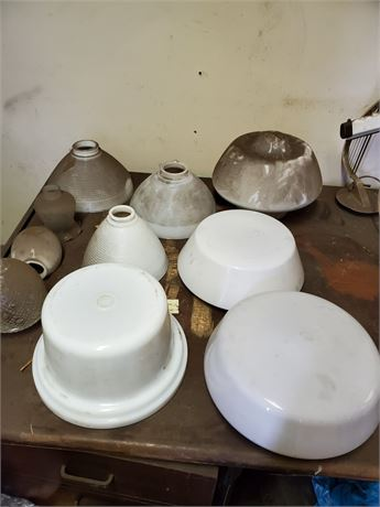 Antique Glass Shades + Globes Lot