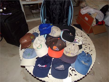 Assorted hats with backpack