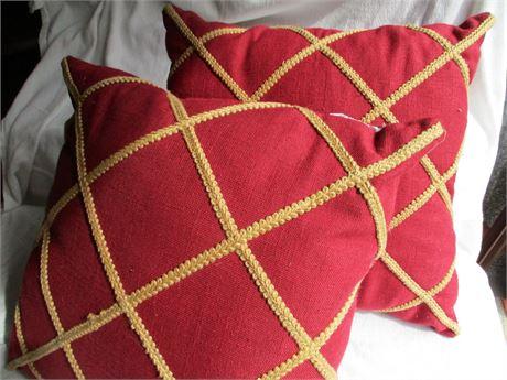 "Pair Burgund w/ Rope Piping Accent Design 16"" Cushion pillows"