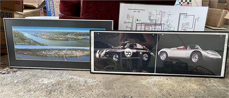 Framed Porsche Print, Laminated Wiring Diagram, & Original Framed Photo of