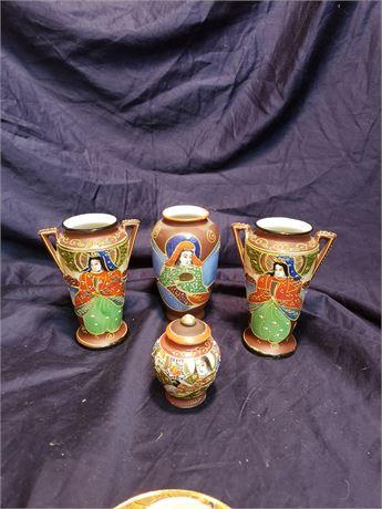 Japanese Satsuma Style Handpainted Vases