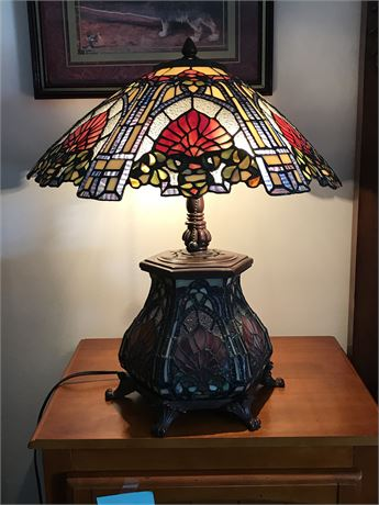 Leaded Glass Base and Shade (Tiffany Style) Lamp