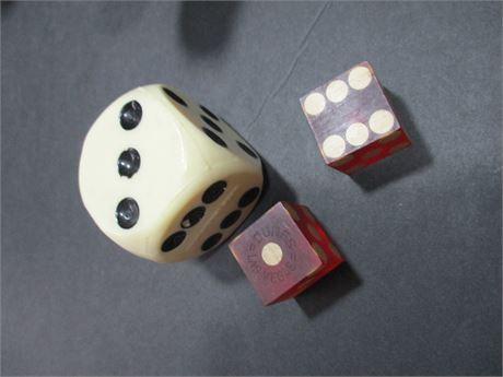 Antique Pair Rare Bakelite Gambling Dice & 1 Regular White