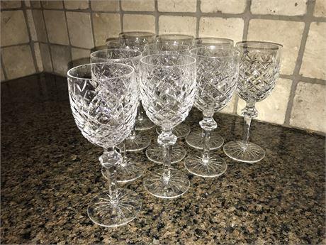 Ten Waterford Wine Glasses