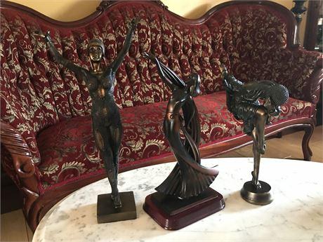 3 Art Nouveau Style Resin Sculptures