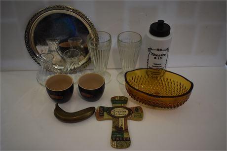 Amber glass nut dish/vintage milkshake glasses/brass banana paperweight