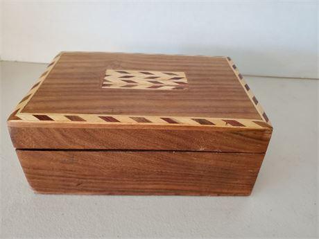 Vintage Inlaid Wood Stash Box
