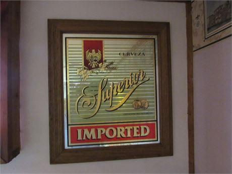 Superior Cerveza Beer Mirror Sign