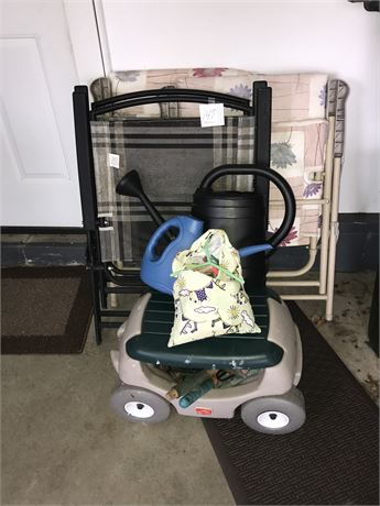 Gardening Lot - Cart w/seat, Watering Buckets, Clothes Pins and 4 Folding Chairs
