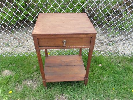 Antique Primitive Small Wood accent Plant Stand Table w/ Drawer