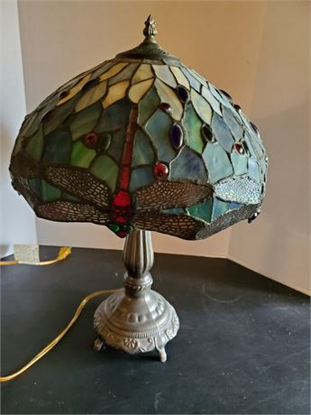 Modern Tiffany Style Dragonfly Stained Glass Lamp