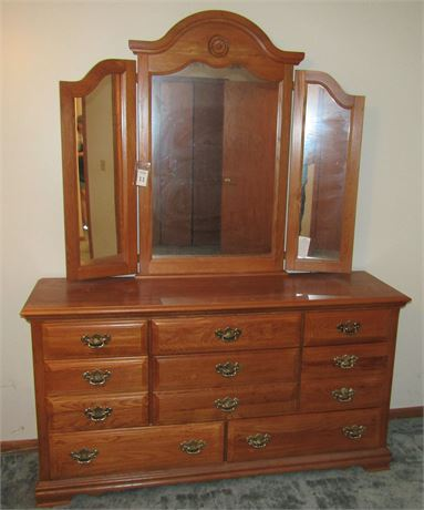 Vaughn-Basset Furniture Triple Oak Dresser with Mirror