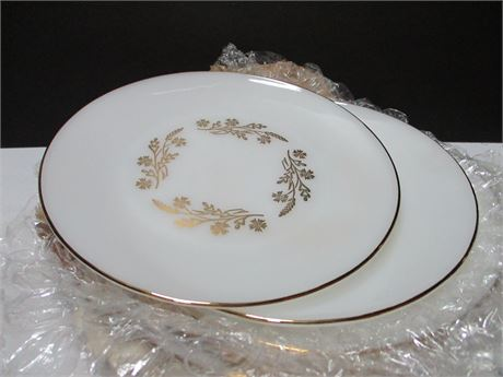 4 Vintage Federal Glass Marked white w/ Gold Matching Plates