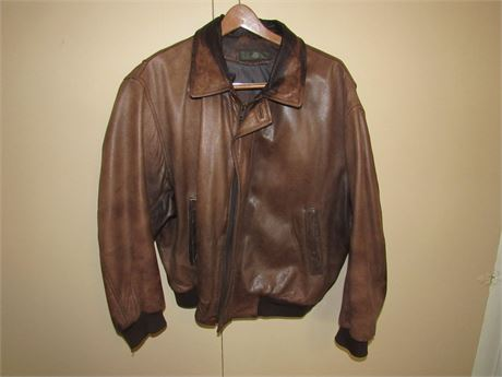 Luciano Barbara Leather Bomber Jacket L