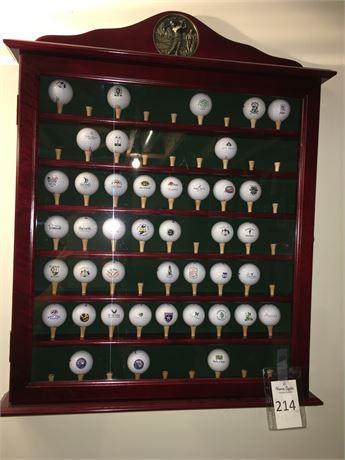 Golf Ball Display Case with Souvenir Golf Balls