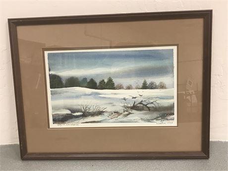 Boyce Kendrick (1927-1992) Winter 1979 Hand Signed Dated Art Print Lithograph