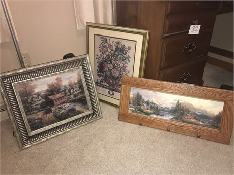 Framed Wall Decor Lot - 3 pieces