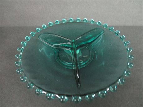 """Vintage 7"""" Blue Bohemia Glass Crystal Divided Dish Plate w/ Tag"""