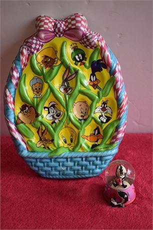 Pepe Le Pew mini snowglobe and Warner Bros Deviled Egg Plate