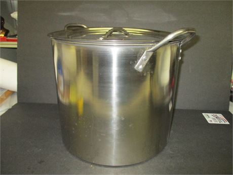 """Large Stainless 12"""" X 10 1/2"""" Steam Kettle Pott w/ Lid"""