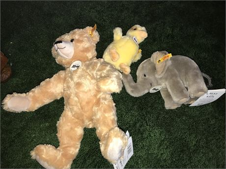3 Steiff Stuffed Animals with original tags