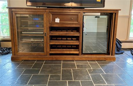Large Wood Wine Cabinet and Entertainment Center