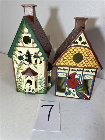 Two Lenox Winter Greetings Metal Tea Light Candle Houses