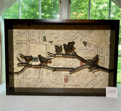 Birds on a Branch Art in Wood Frame