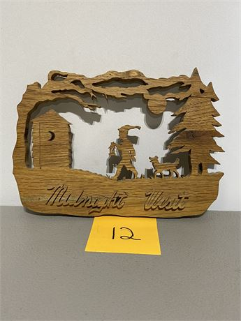 Vintage Handmade Midnight Visit Silhouette Scroll Saw Depiction