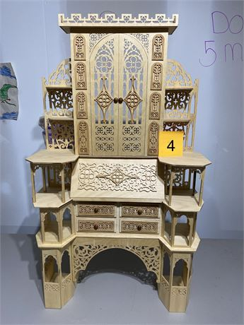 Vintage 1800's Style Secretary Cabinet - Scroll Saw Fretwork Created Masterpiece