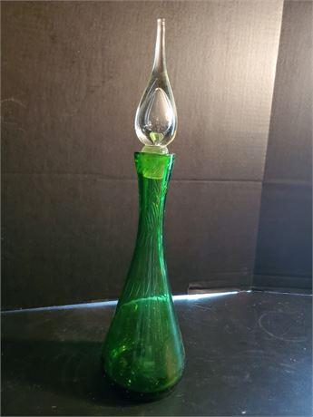 Vintage Handblown Green Glass Decanter