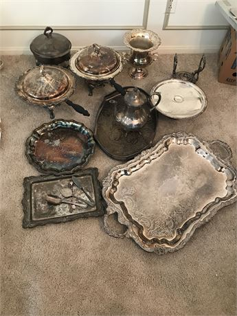 Large Lot of Vintage/Antique Silver-plated Items