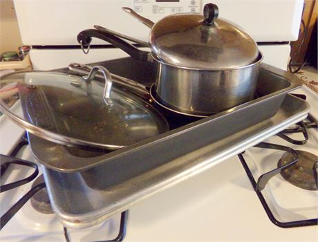 Cookie Sheets, Faberware Lasagna Pan, and Other Pots