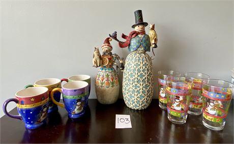 Rare Jim Shore Heartwood Creek Snowman Figures and Snowmen Glasses/Mugs