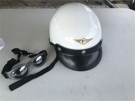 Vector Used Motorcycle Helmet and Goggles
